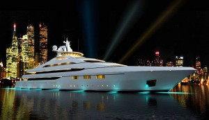 Superyacht at night
